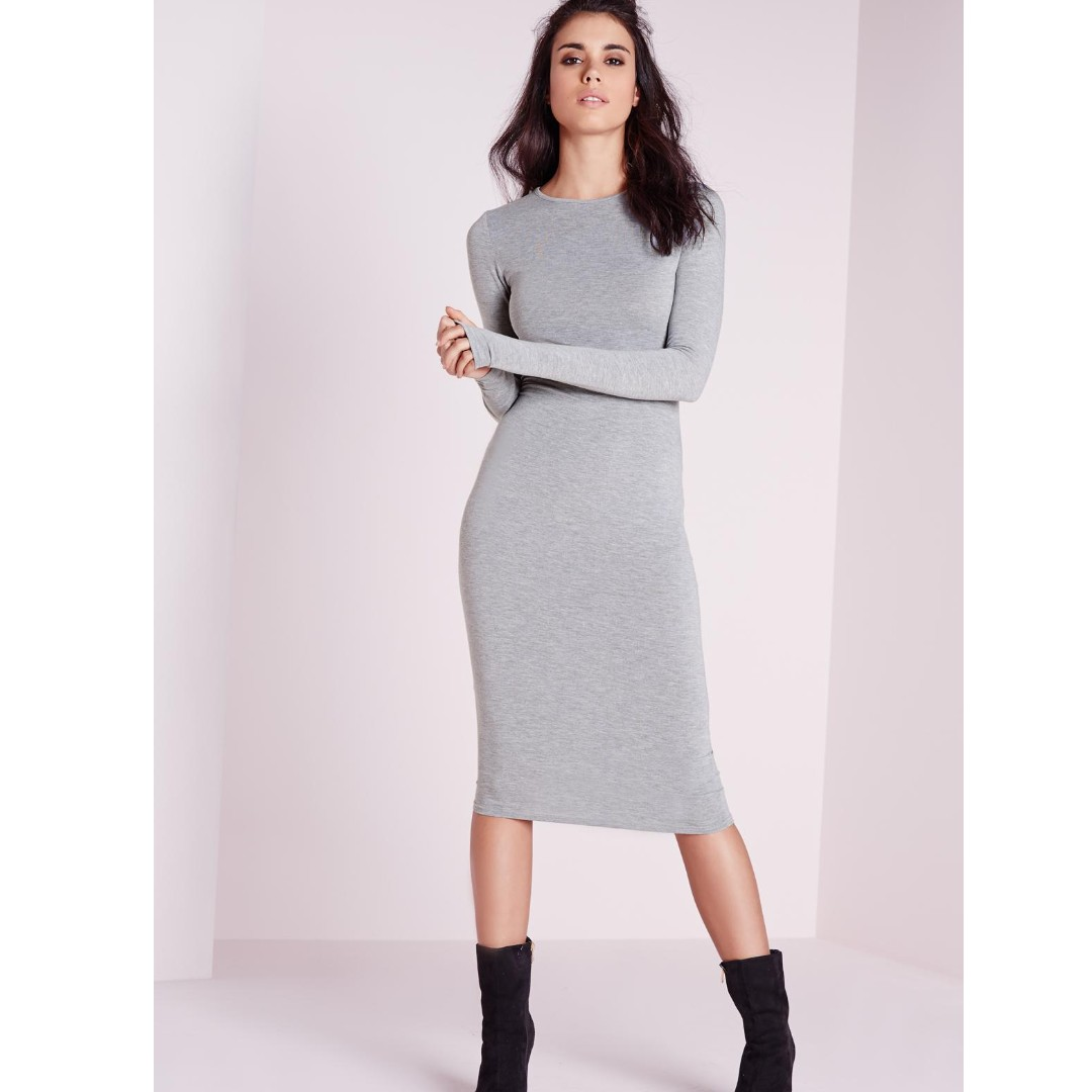 NEW with tags Missguided jersey grey marle bodycon long sleeve midi dress sz 8