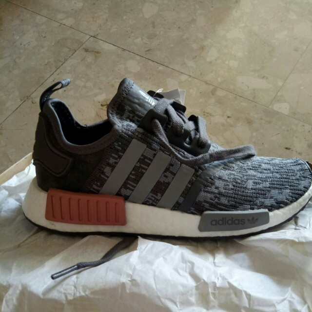save off 9eb8b 6c1a9 NMD R1 Heather Grey/Raw Pink, Women's Fashion, Shoes on ...
