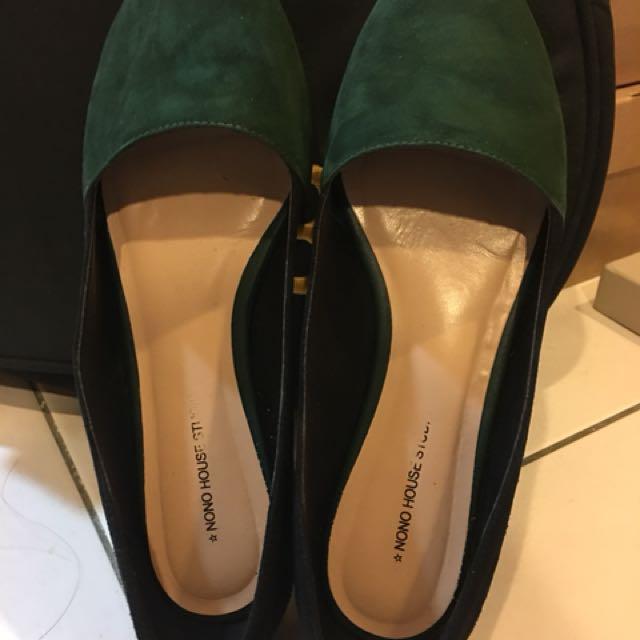 Nono house 墨綠尖頭平底娃娃鞋