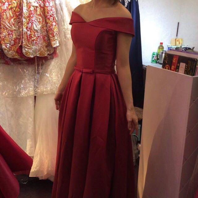 Off Shoulder Dark Red Dress