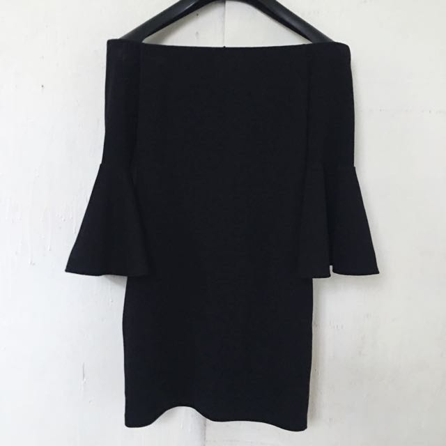 Offshoulder dress with bell sleeves