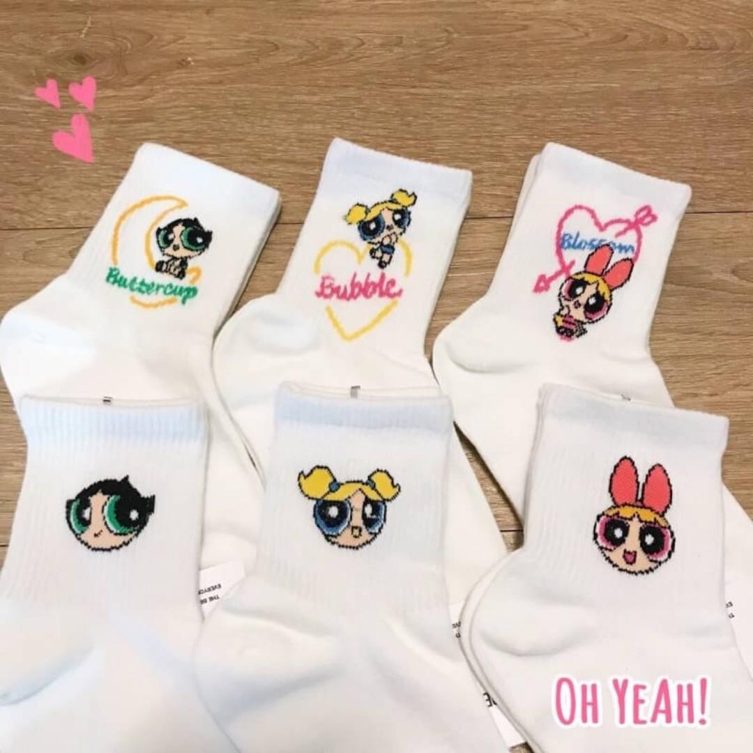 :::OH YEAH!:::『現貨』韓國🇰🇷飛天小女警棉質襪 共六款 花花泡泡毛毛 22-26可穿 交換禮物生日禮物