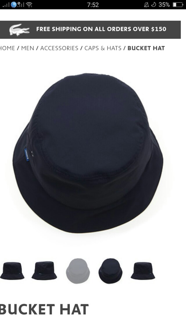 Original Navy Lacoste Bucket Hat Cap e0731a4a063