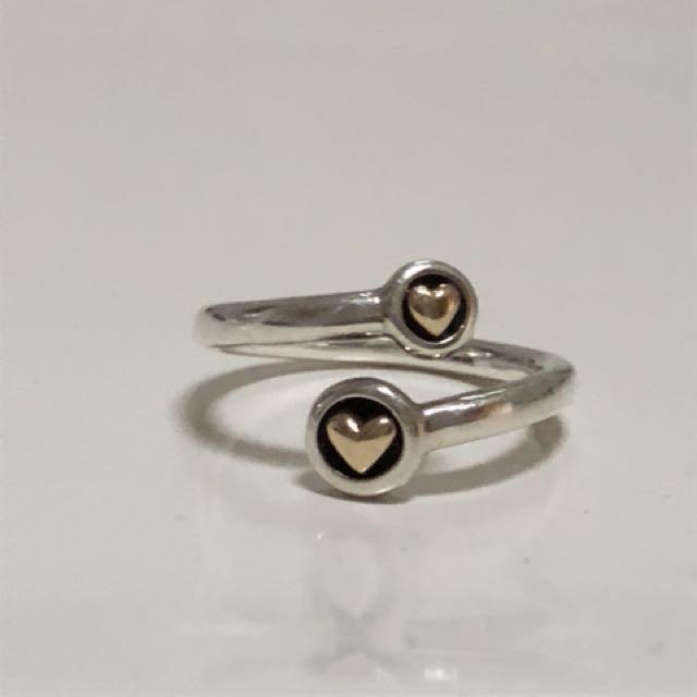 Pandora htf Twin Gold hearts ring Size 56-58