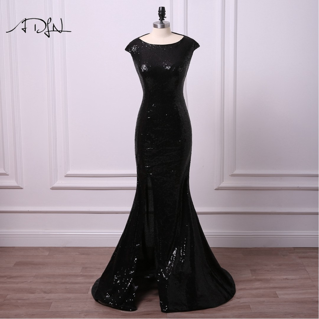 prom black sequence dress