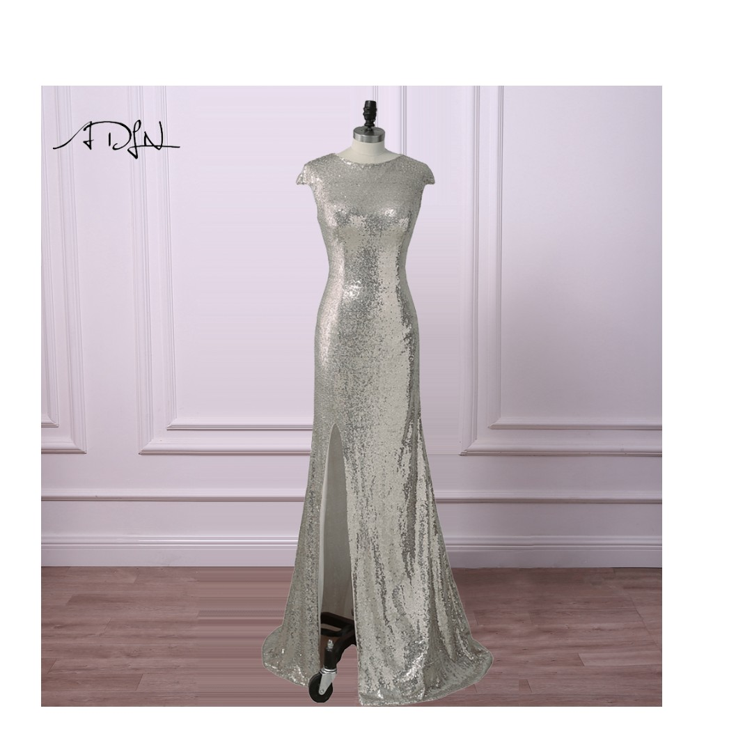 prom silver sequence dress