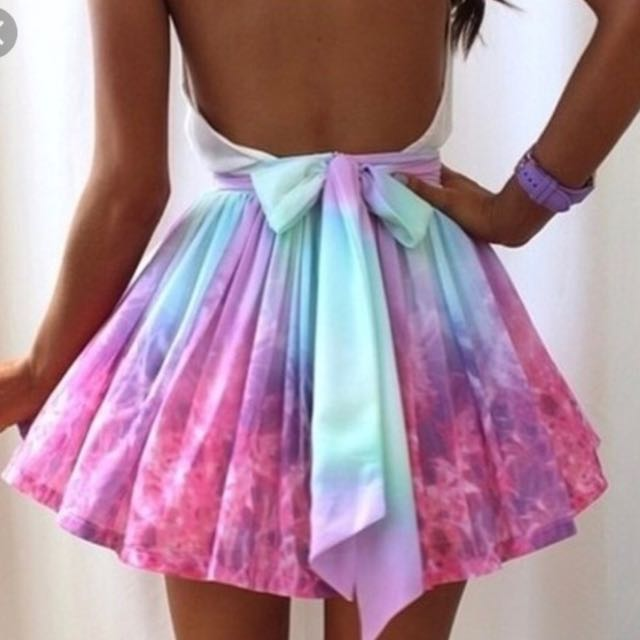 Rainbow Ribbon skater skirt