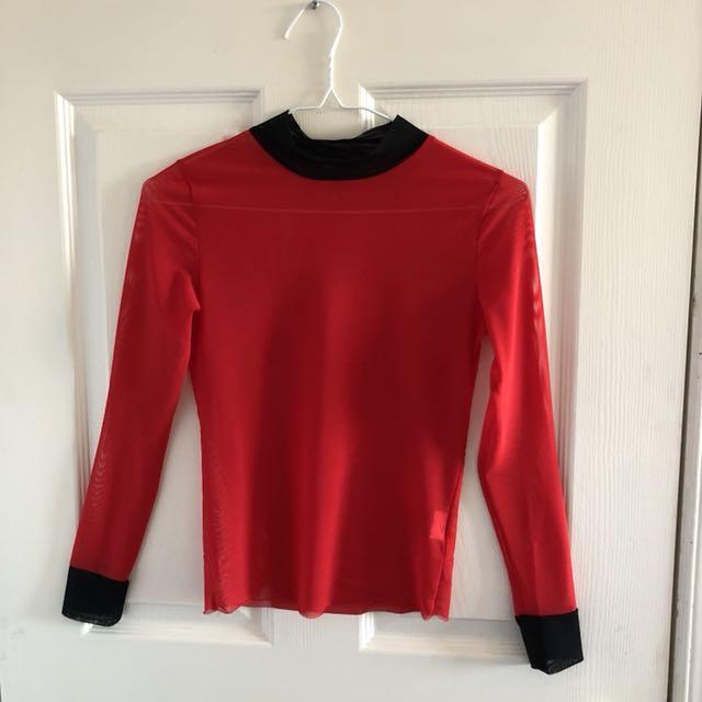 red mesh long sleeve