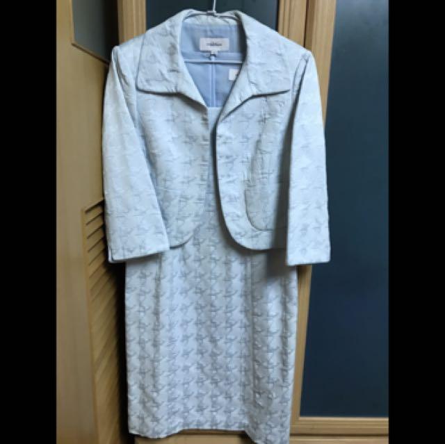 Rosaline lee日本高級專櫃品牌水藍洋裝套裝
