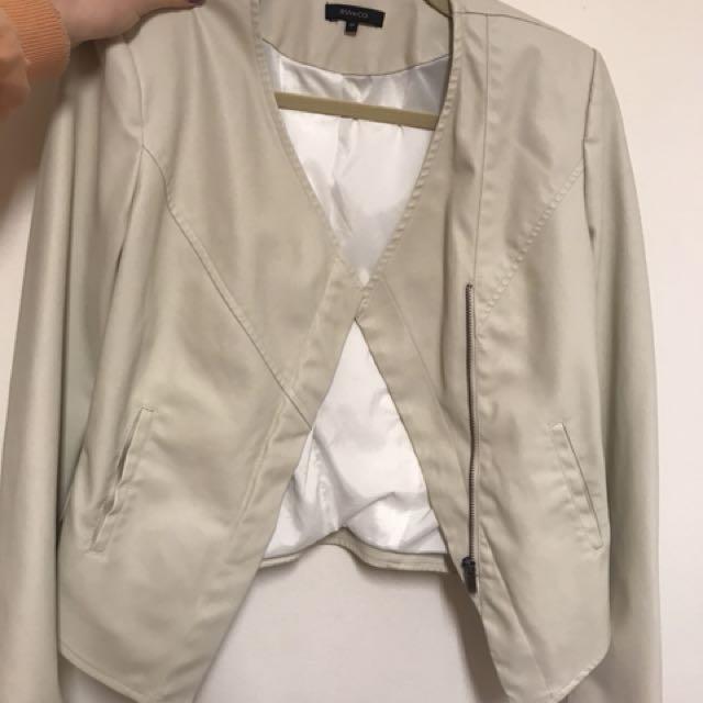 RW&CO White Leather Jacket