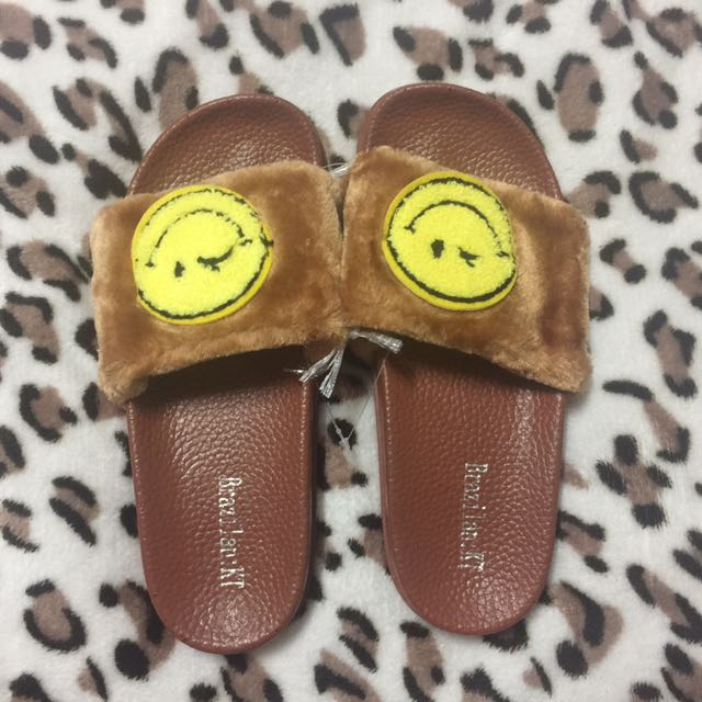 Smiley Fur Slippers