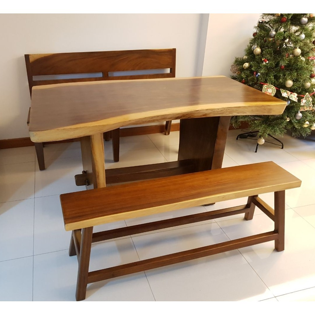 Solid Wood Dining Table Bench Set Meh Raintree Suar