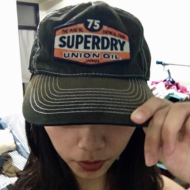 Superdry 軍綠刷舊棒球帽老帽