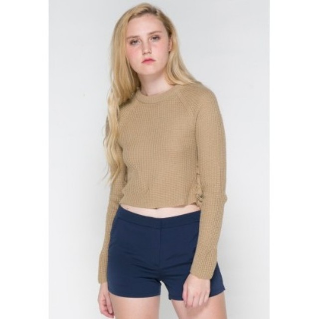 Sweater colorbox side lace up