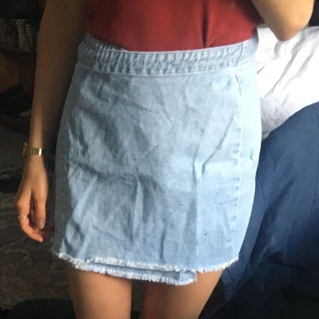Top shop denim wrap skirt