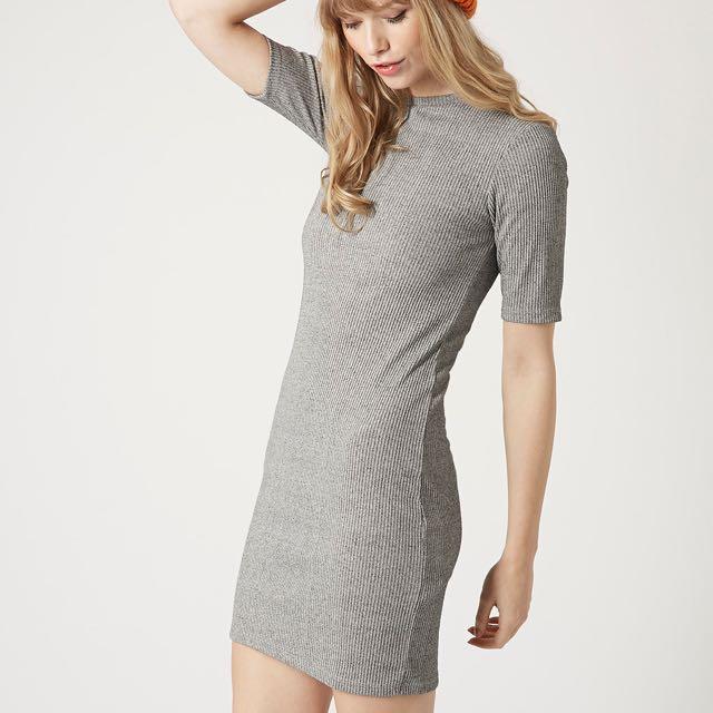 7514c9aefa9 Topshop Grey Ribbed Bodycon Dress, Women's Fashion, Clothes, Dresses ...