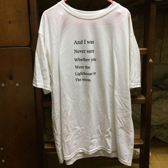 英文字背後圖案白色短袖T-shirt #舊愛換新歡