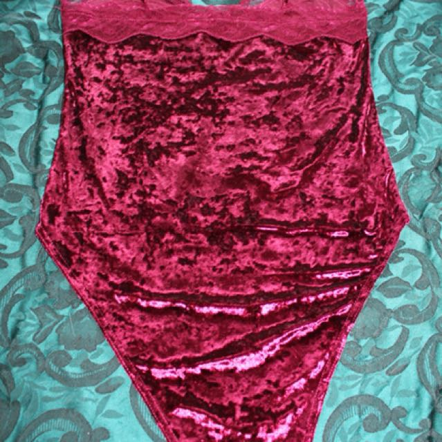 Valleygirl Velvet Maroon Bodysuit