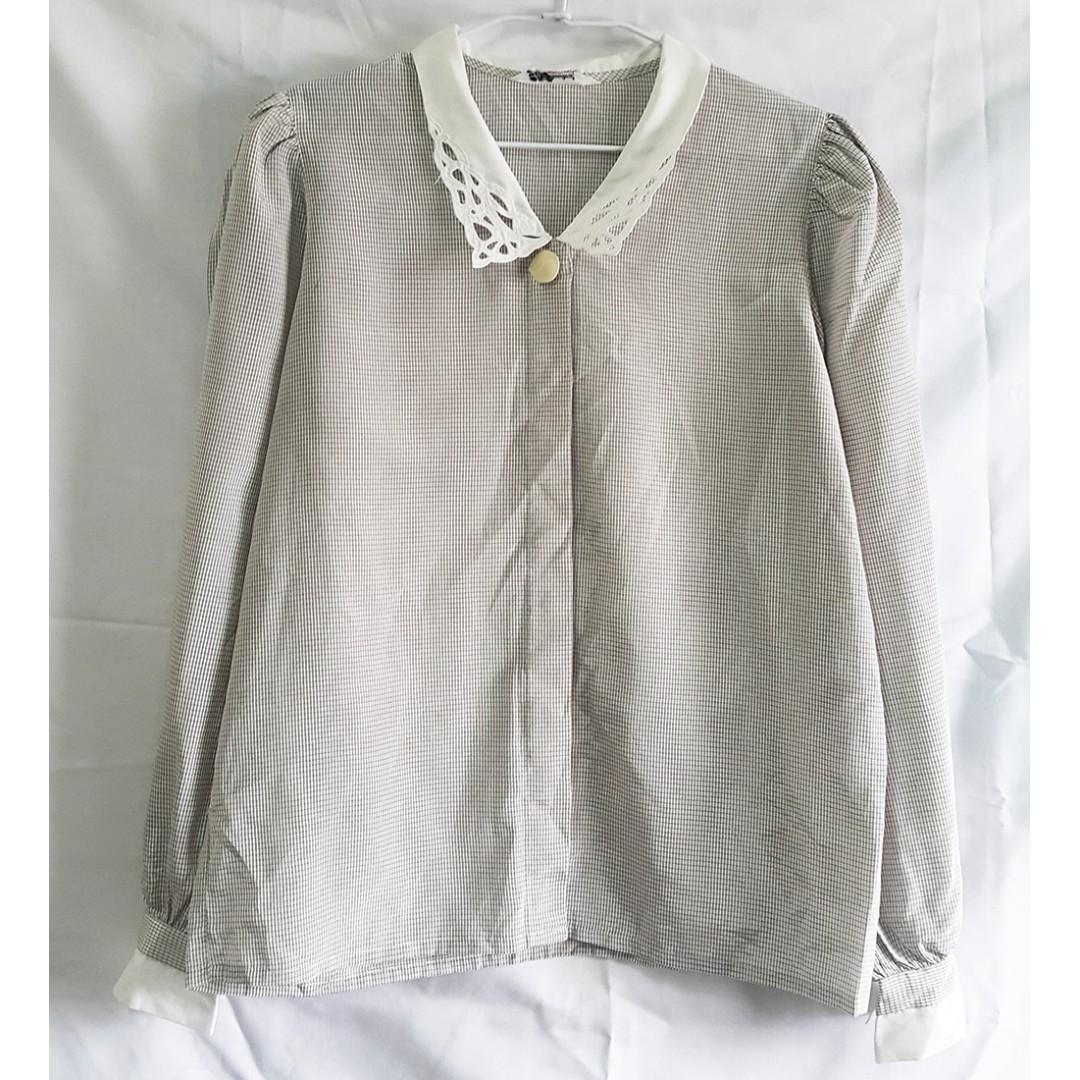 [保留中] vintage 古著 細格子雕花領光澤襯衫