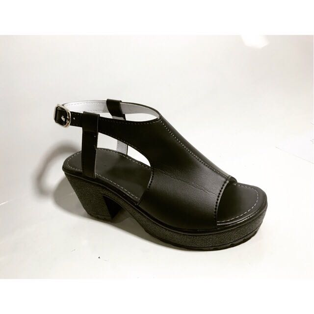 Wedges Hitam Kantor - Sepatu Kerja Wanita Murah - Wedges Hitam Gesper Lucu - Sepatu Heels Wedges Resmi - Sepatu Pesta Wanita