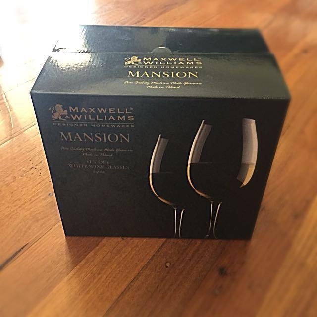 White wine glasses Brand new in box x 12