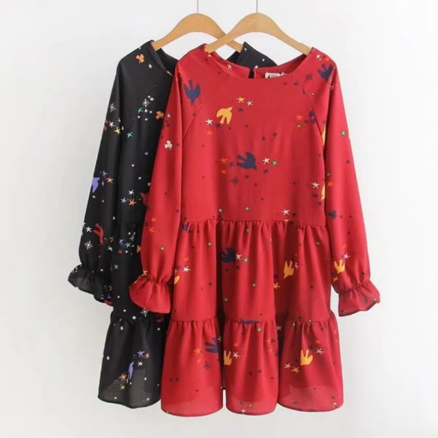 xl 6xl cny plus size babydoll dress chinese new year clothes flare large korean style women 39 s. Black Bedroom Furniture Sets. Home Design Ideas