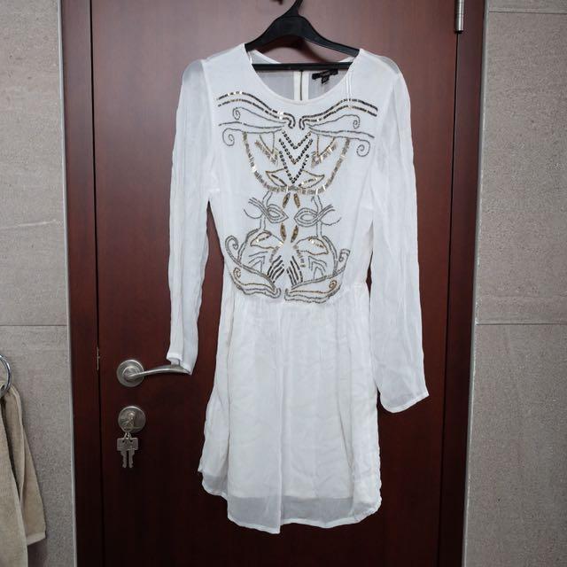 ZARA bohemian white dress