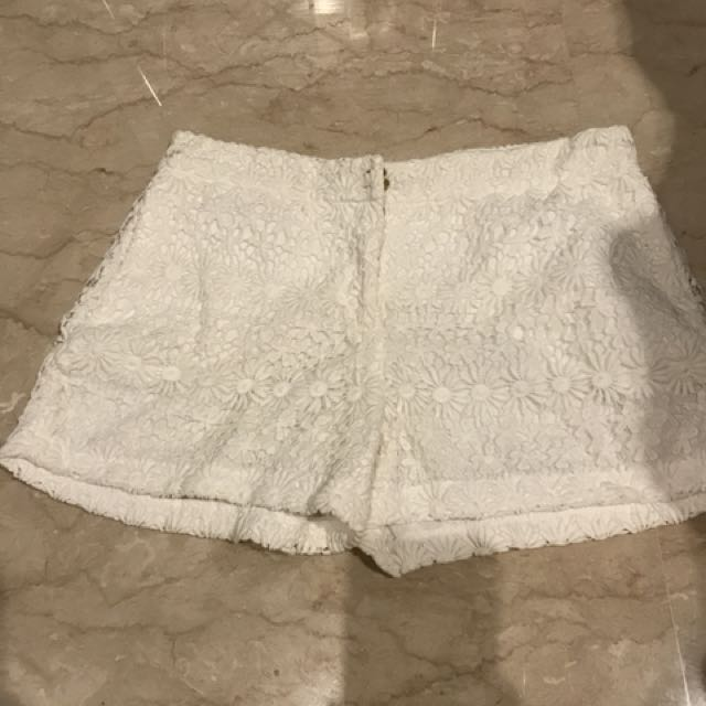 zara lace short pants