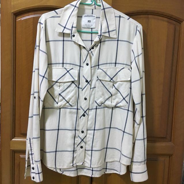 Zara Premium Denim Checkered shirt in White
