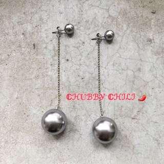 💥銀色圓球吊墜耳環💥
