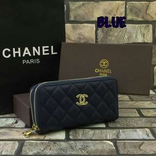 Chanel Caviar Zippy Purse Blue Color