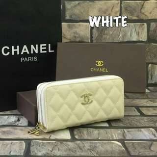 Chanel Double Zippy Purse Pearl White
