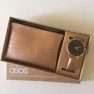 ASOS cat watch & coin purse/ wallet rose gold