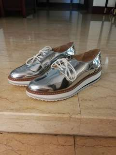 Zara silver chrome Oxford shoes