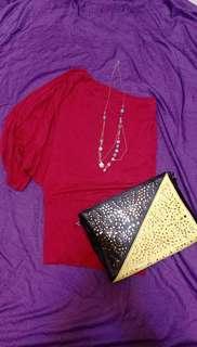 🚚 紅色斜肩長版上衣/洋裝