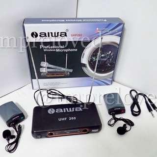 Mic AIWA UHF 260 Dual Clip On Wireless Microphone Tie Clip