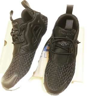 🚚 Reebok classic us7.5 24.5黑色女鞋 編織 輕量 部落客 潮流