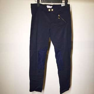 VERSACE women's trousers blue patch gold buttons cute chic style