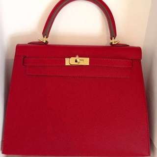 Authentic Hermes kelly 25 rc epsom sellier ghw stamp X