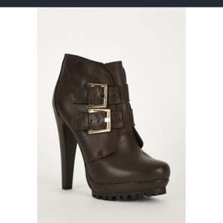 Leather Ankle Booties Buckled Boots
