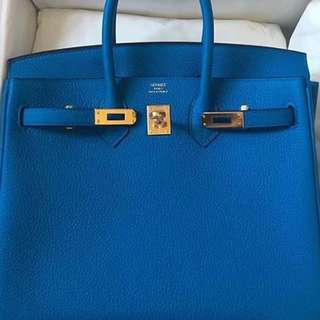 Authentic hermes birkin 25 blue zanzibar togo ghw stamp A