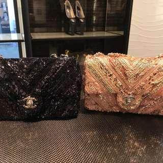 Chanel 罕有粉色珠片手袋