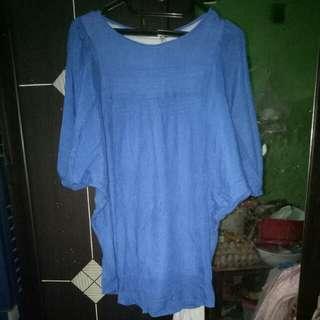 Batwing blouse biru