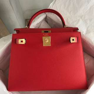Authentic hermes kelly 28 hss rouge tomato epsom sellier ghw stamp A
