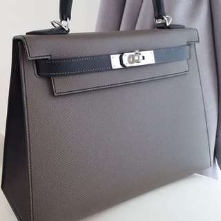 Authentic hermes kelly28 hss sellier etain black epsom phw stamp A