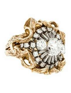 14K Diamond and Platinum Cocktail Ring