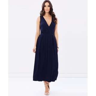 Navy Wrap Front V-Neck Split Maxi Dress  RRP $130  Brand New with Tags - Size 8