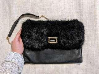 ALDO Faux Fur Leather Cross Body Purse