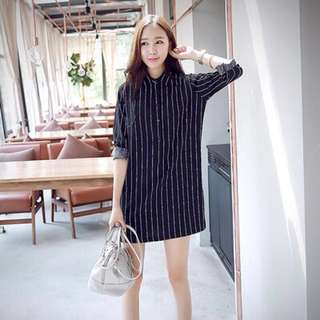 [INSTOCK] Ulzzang Korean Striped Black Dress