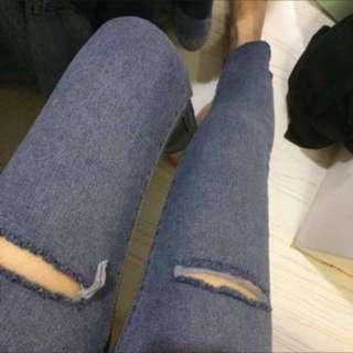 九分顯瘦刷破牛仔褲